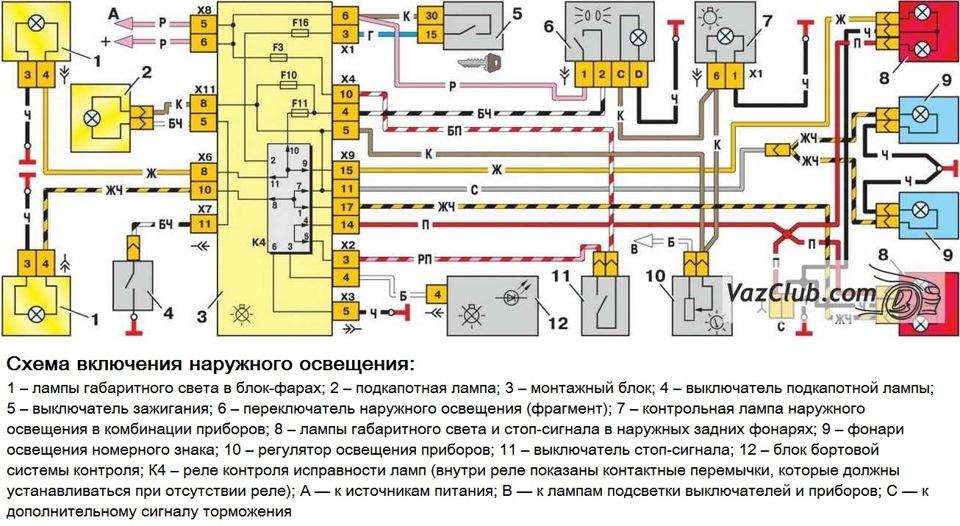схема включения габаритного освещения лада самара