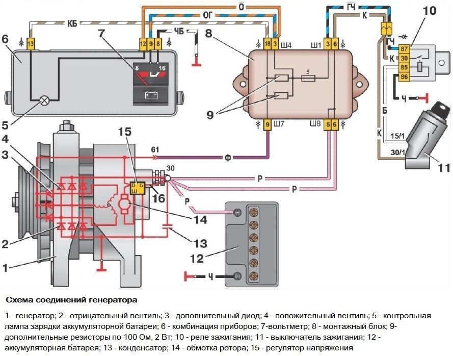 Схема подключения генератора Лада Самара