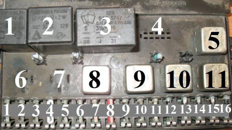 Монтажный блок Лада Самара старого образца с 11 реле