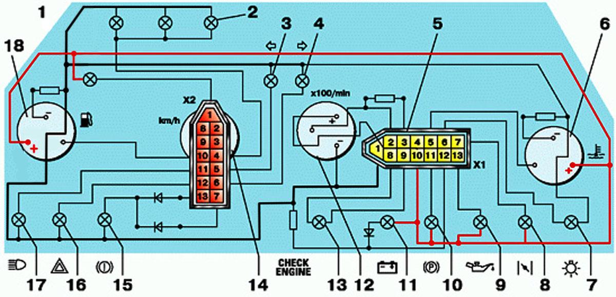 Схема и распиновка панели приборов (щитка) ВАЗ-2110, 2111 и 2112