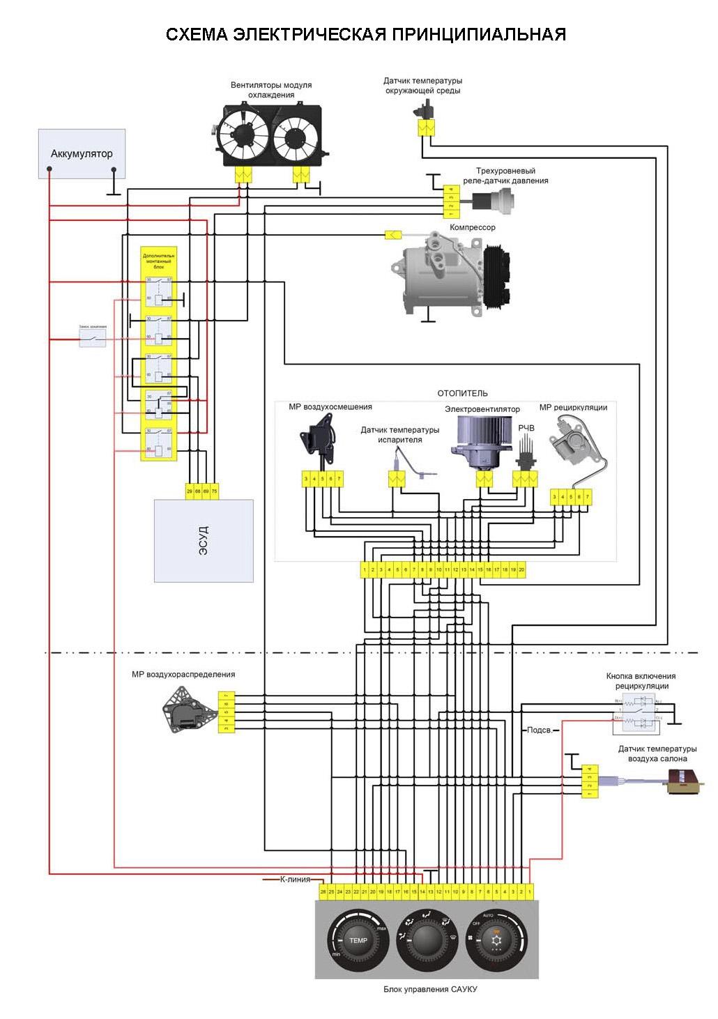 Схема кондиционирования и отопления ВАЗ-2170 Приора